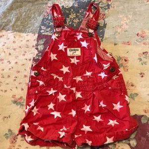 Red with white stars shorts overalls
